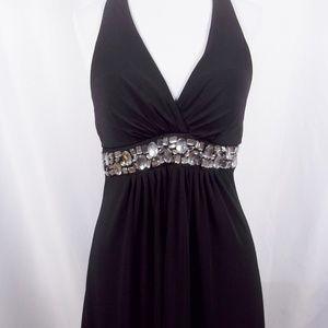 Speechless Black Halter Dress Crystal Accents